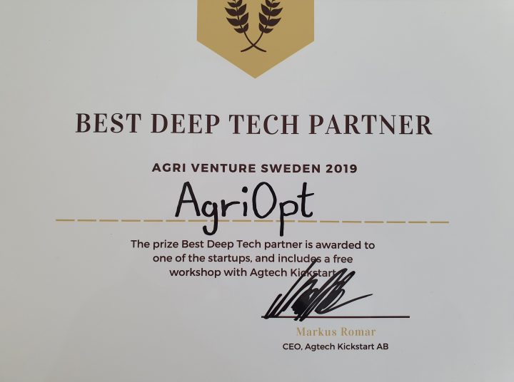 "Prisade som ""Best Deep Tech Partner"" på Agri Venture Sweden"